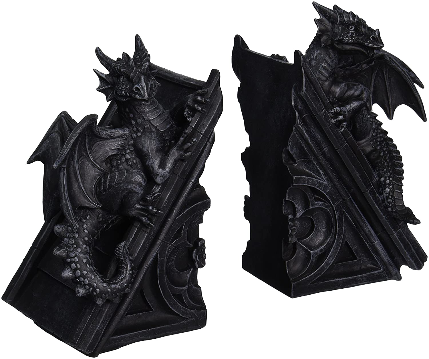 Design toscano gothic castle dragons sculptural bookends ebay - Gothic bookends ...