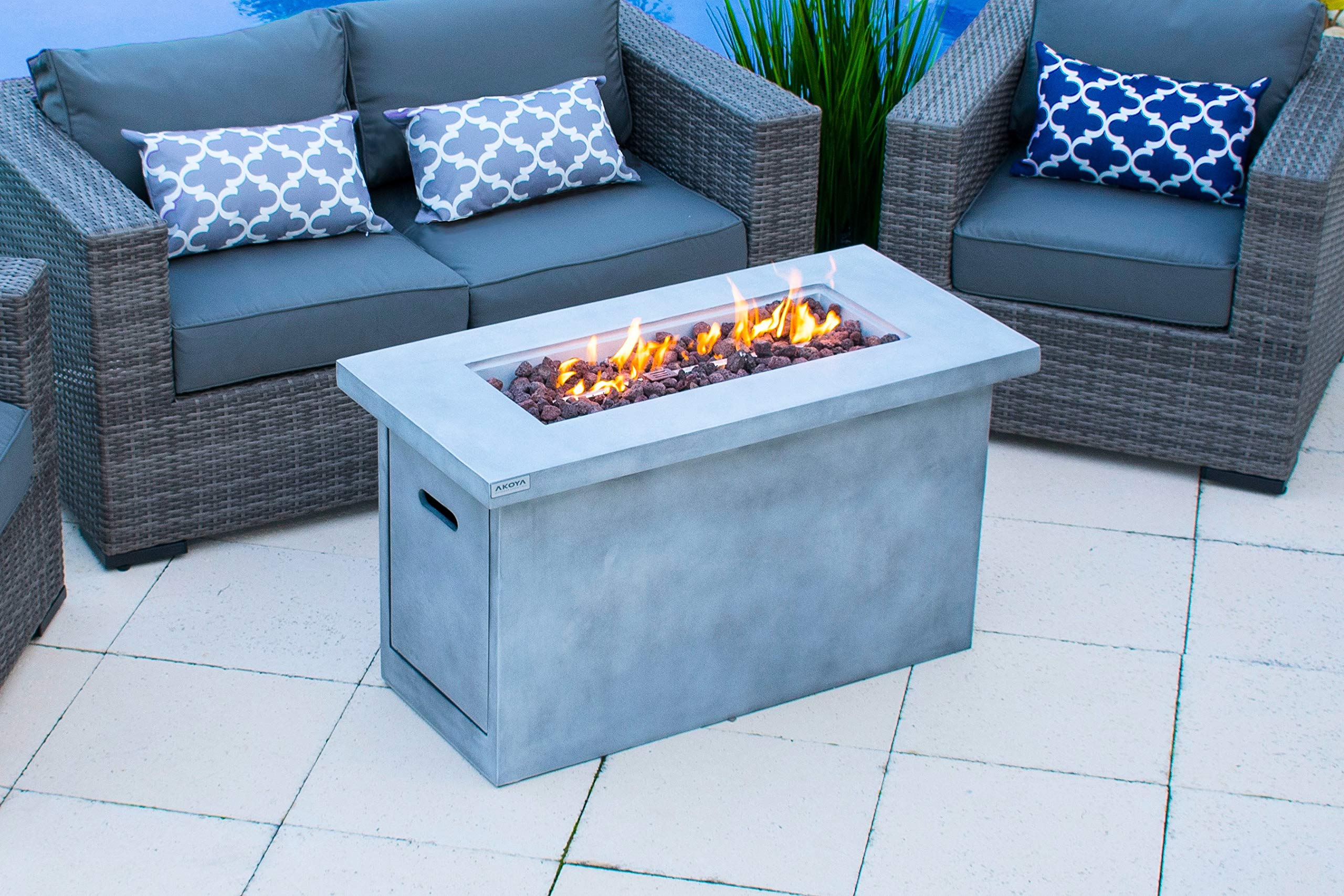 AKOYA Outdoor Essentials 42'' Concrete Outdoor Propane Gas Fire Pit Table in Gray by AKOYA Outdoor Essentials