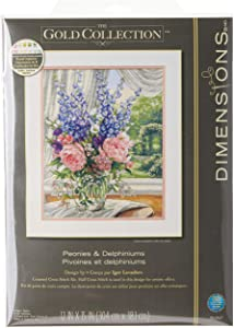 Dimensions 'Peonies and Delphiniums' Floral Counted Cross Stitch Kit, 18 Count White Aida, 12