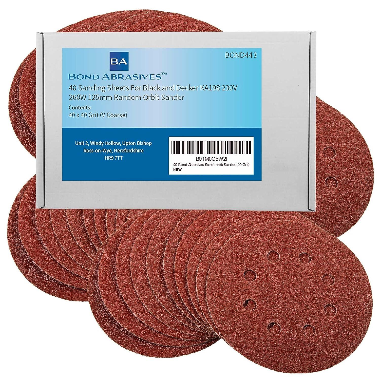 40 hojas de lija de Bond Abrasives para lijadora orbital Black + Decker KA198 de 230 V y 260 W, de 125 mm, grano de 40 (V grueso) de 125mm grano de 40(V grueso)