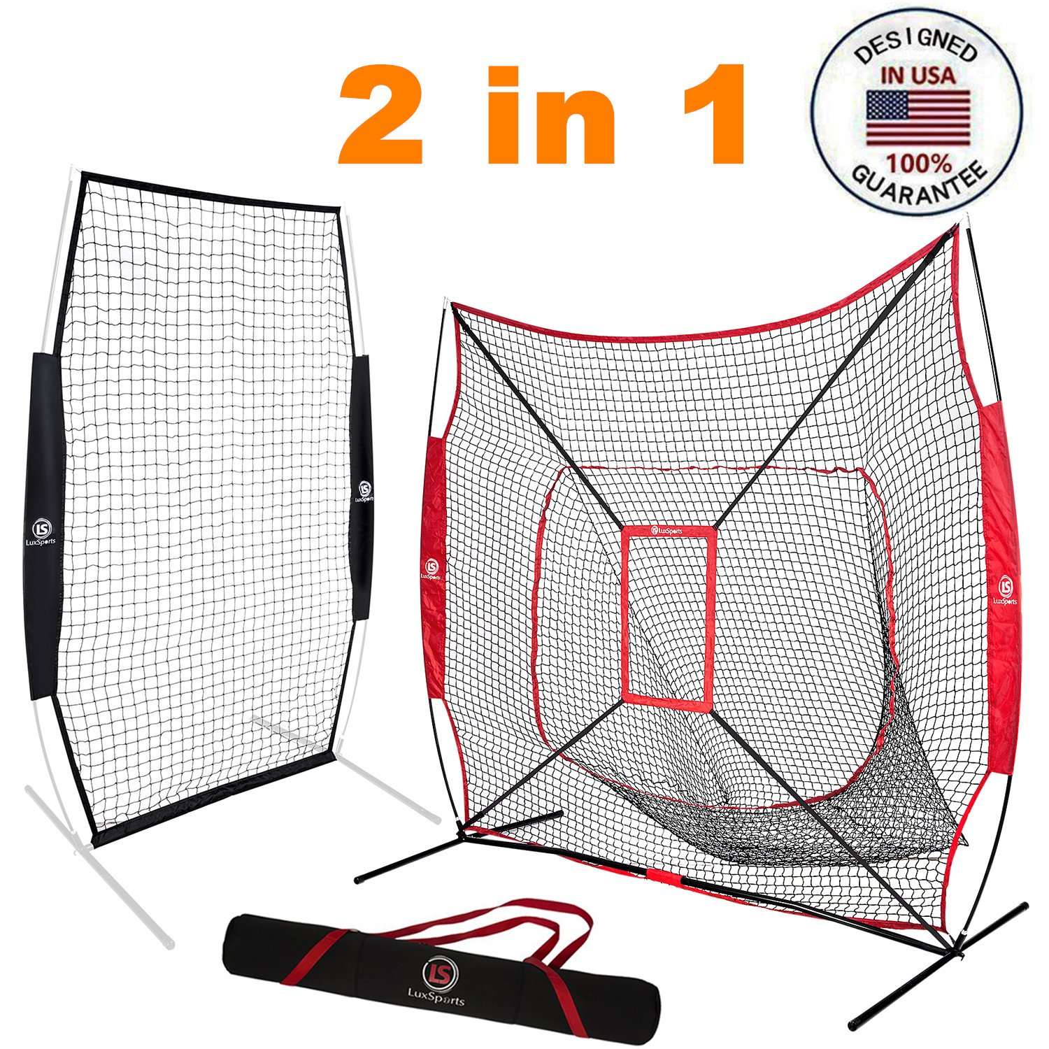 LuxSports 7X7 Commercial Grade Heavy Duty Baseball&Softball Practice Net with Strike Zone, Premium Carrying Bag and Stakes for Hitting, Pictching, Fielding and More