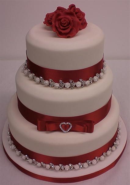 Cake Decoration Wedding Cake Rhinestone Ceramic Rose Chain Red
