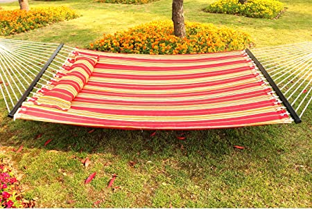 Best Sunshine Hammock Quilted Fabric with Pillow for Two Person, Double Size Spreader Bar Heavy Duty Stylish for Outdoor Garden Patio, 450lbs Capacity red