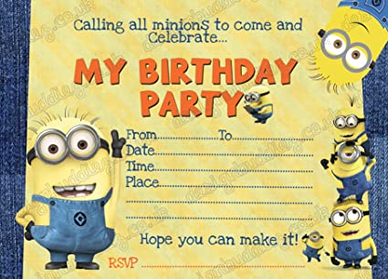 10 X Minion DESPICABLE ME Birthday Party Invitations Pack Thick Cards FREE Envelopes