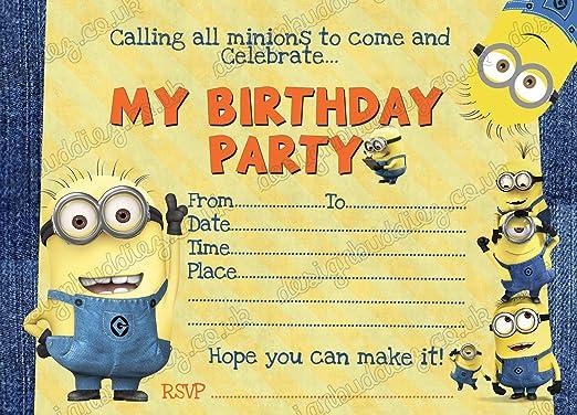 Despicable Me Minion 10 x fiesta de cumpleaños invitaciones ...