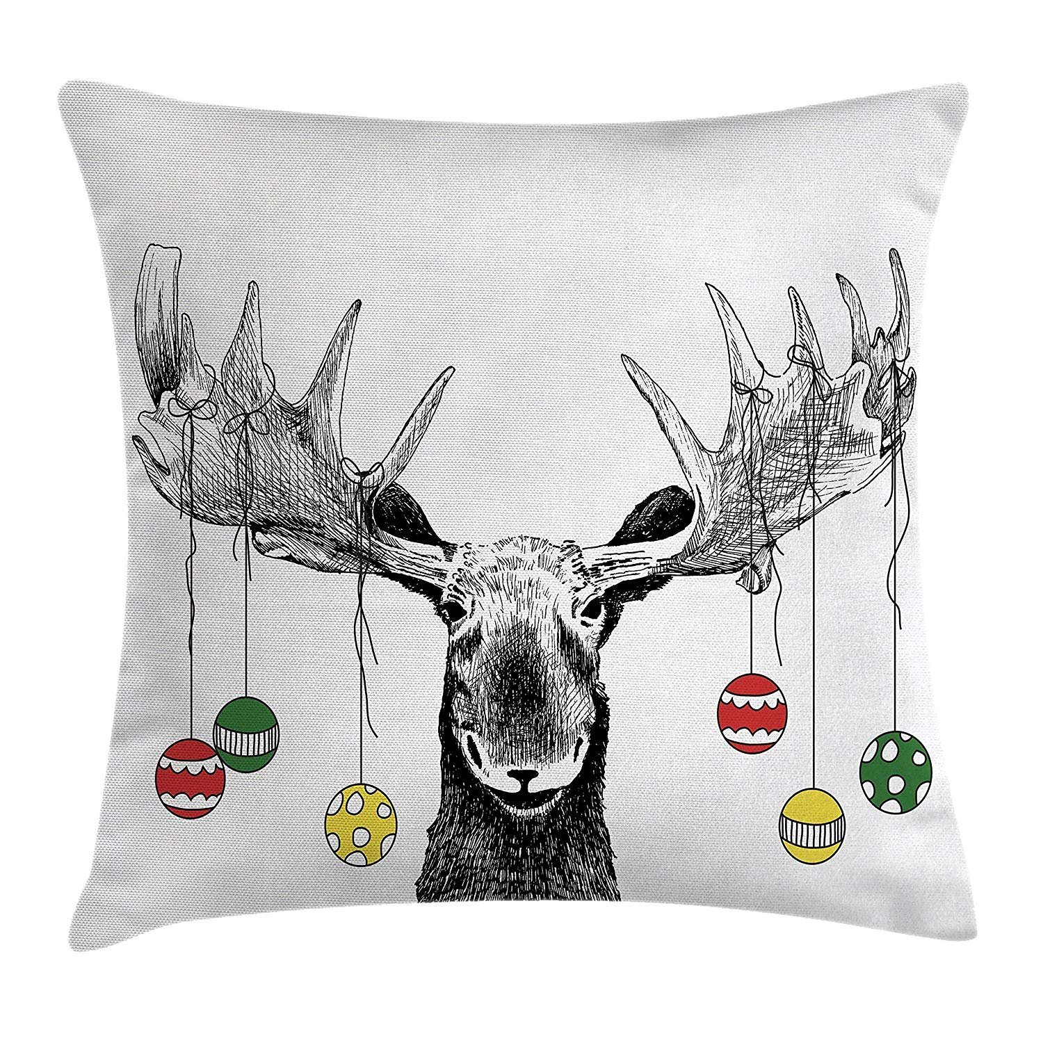 Moose Decor Throw Pillow Cushion Cover, Christmas Moose with Xmas Ornaments Balls Hanging from Horns Funny Noel Sketch Art, Decorative Square Accent Pillow Case, 18 X 18 inches, Multi whhopily