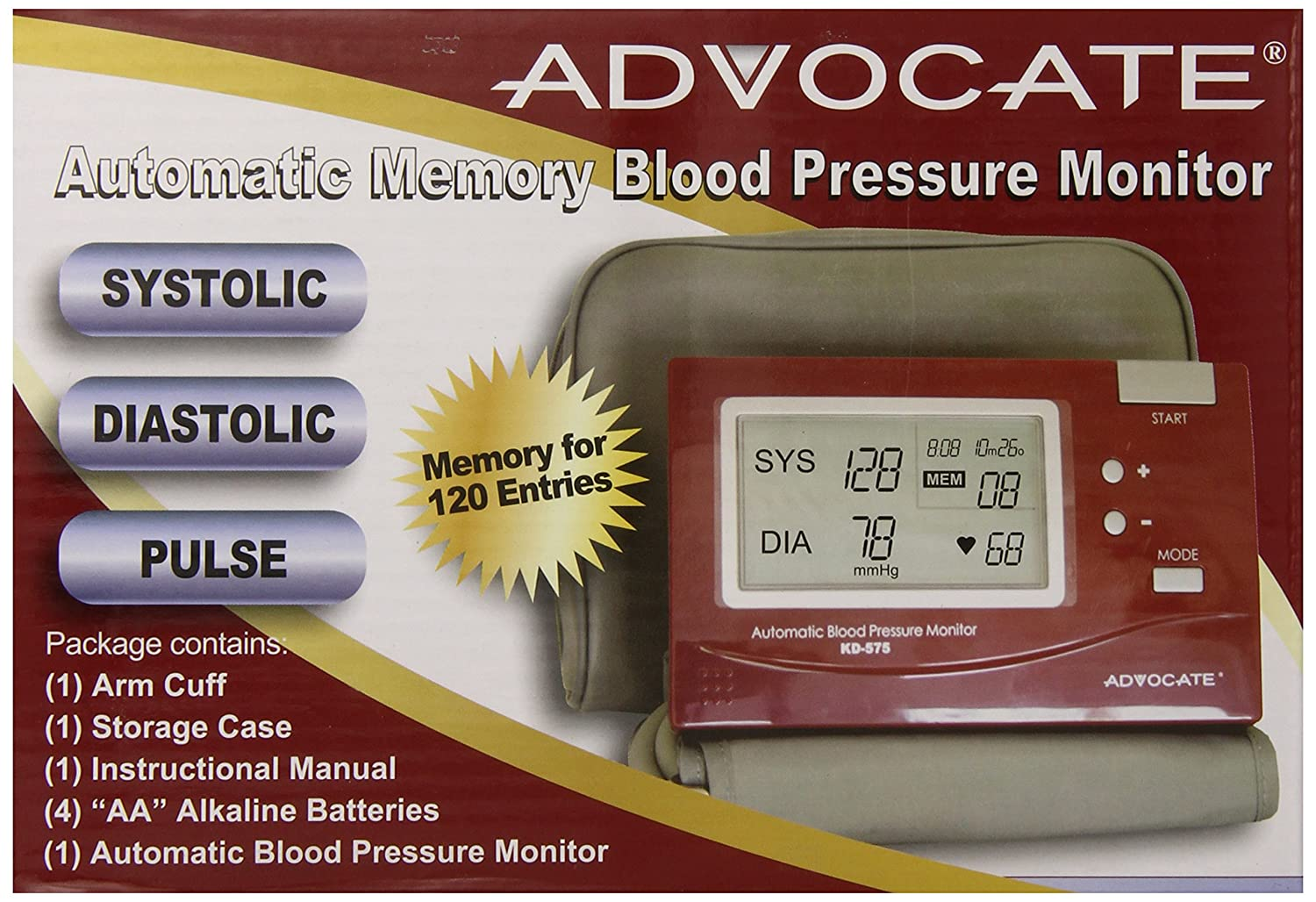 Amazon.com: Advocate KD-5750 L Arm Blood Pressure Monitor, Large Cuff: Health & Personal Care