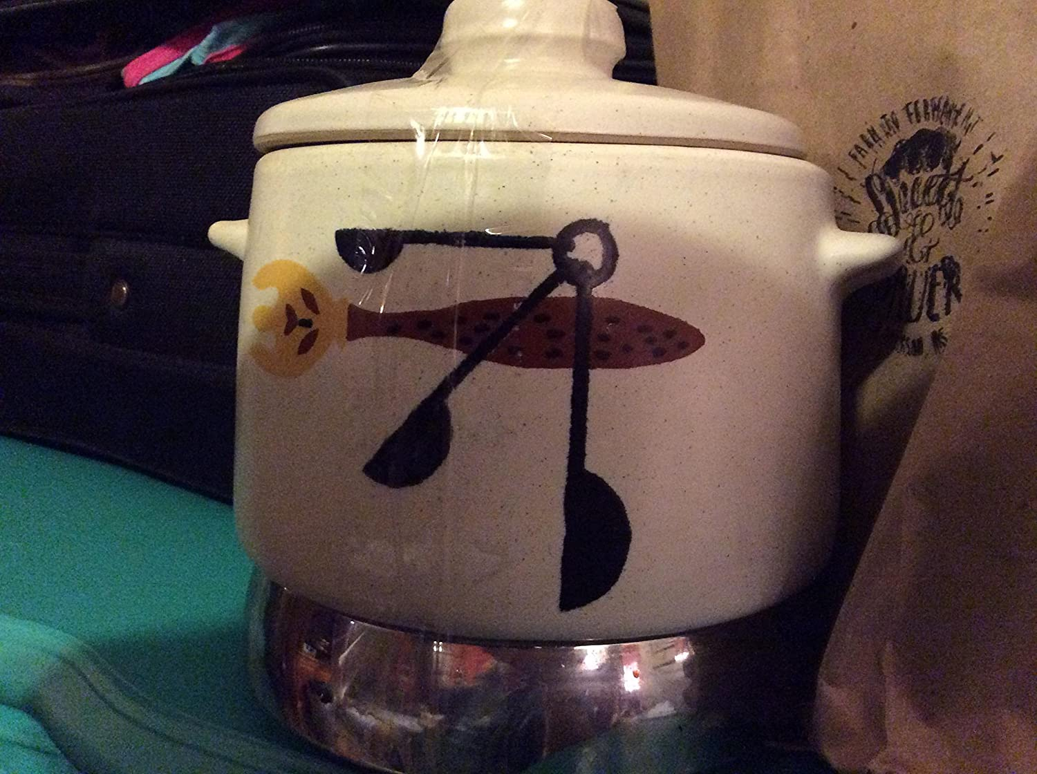 Vintage West Bend Round Lazy Day Bean Pot Space Age Slow Cooker with Heat-Rite Burner