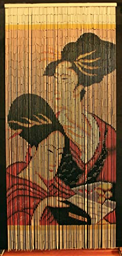 Bamboo Beaded Curtain Geisha Girl Chinese Door Way Room Divider 90 Strands NT BB-05