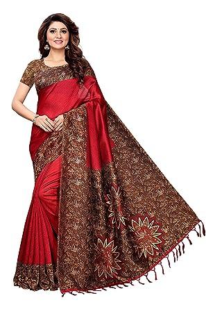 feff382cb Indira Designer Silk Saree with Blouse Piece (BM-G2FZ-NYR0 Bloody Red Free  Size)