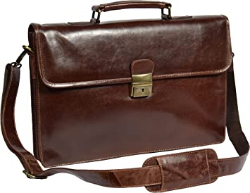 Top Quality Mens Real Brown Leather Briefcase With Lock Business Work Office Bag