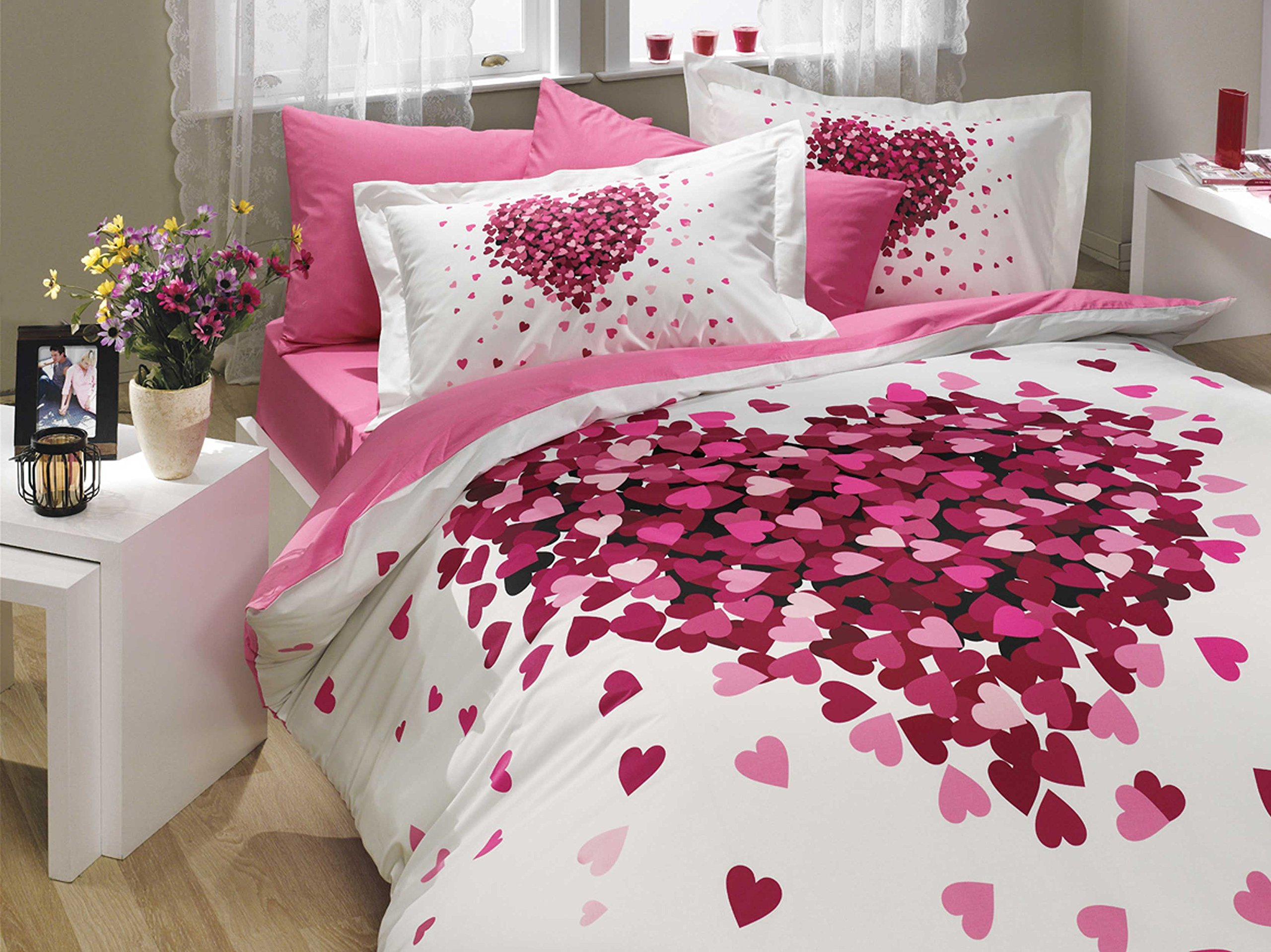 Bedding Set Heart Love Themed with Cotton Duvet Cover Romantic Design, Twin Size - 3 Pieces, Pink Lilac White
