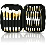 habe Makeup Brush Organizer Bag - Travel Case w/ 20 Stretchy Brush Holders - Fits ALL Your Long Make Up Brushes - Cosmetic Brush Holder Bags / Cases for Women - Professional Storage Bag / Case / Pouch