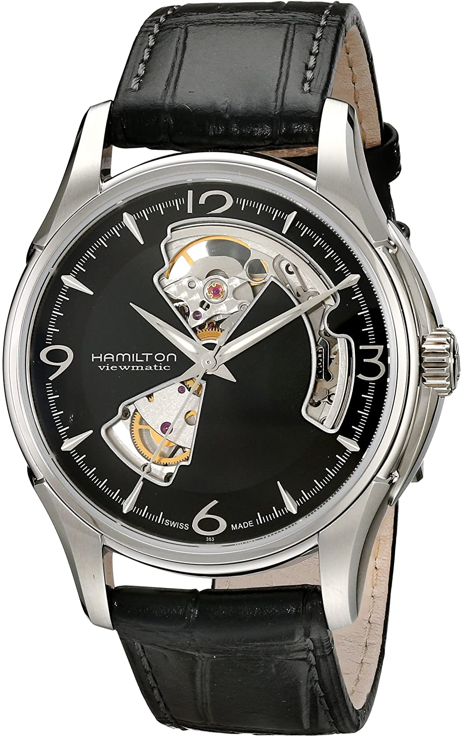 Hamilton Men s HML-H32565735 Jazzmaster Open Heart Analog Display Swiss Automatic Black Watch