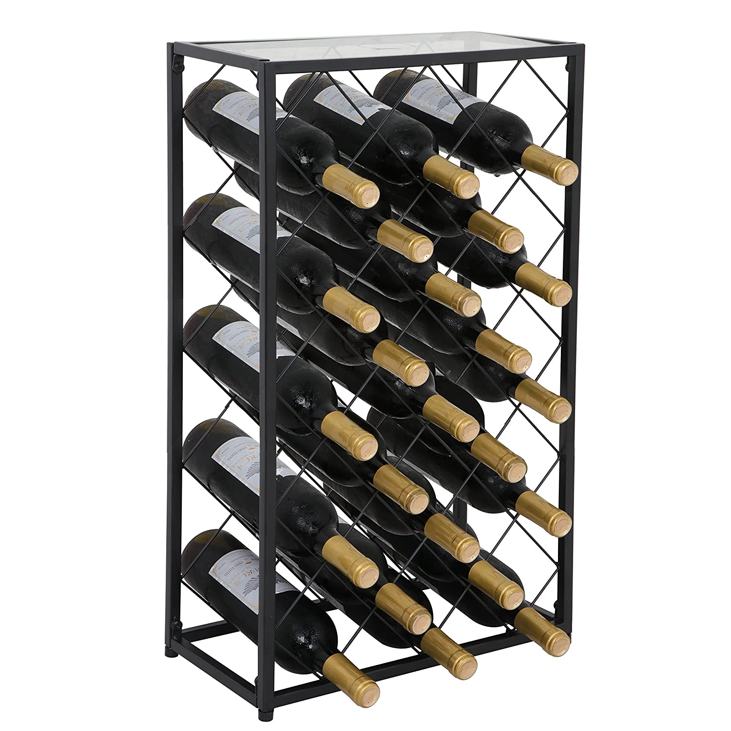 Amazoncom Smartxchoices Wine Rack With Glass Table Top Solid