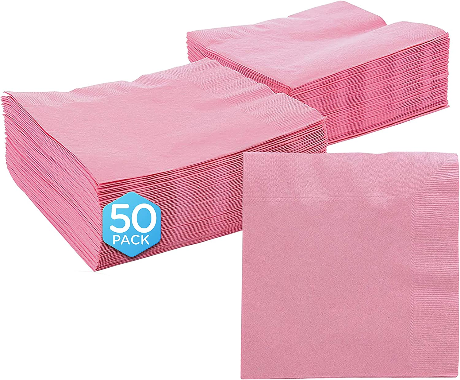 "Amcrate Big Party Pack 50 Count Pink Dinner Napkins Tableware- Ideal for Wedding, Party, Birthday, Dinner, Lunch, Cocktails. (7"" x 7"")"
