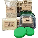 Cricket Colony Starter Kit for Feeder Crickets- 6-Egg Flats, Vermiculite, Top Soil, Screen, 1/2 LB Feed/ Food Sample, 1- Pack