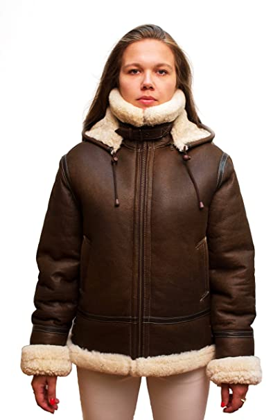Amazon.com: Mujer Genuine SHEARLING B-3 Bomber chamarra ...