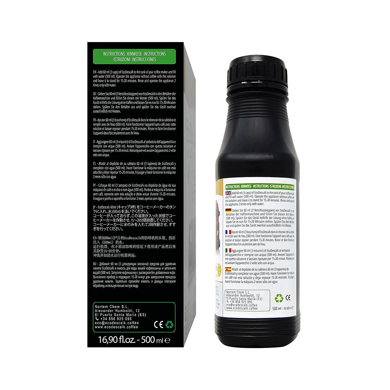 EcoDescalk Concentrado 9 descalcificaciones. Descalcificador para Todo Tipo de Cafeteras. Todas Las Marcas, Bosch, Nespresso, Krups, DeLonghi, Tassimo.