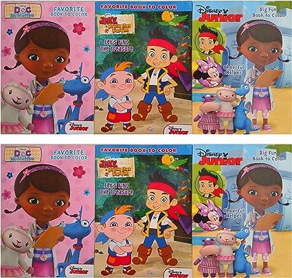 Amazon Com Juego De 6 De Disney Junior Doc Mcstuffing Minnie Mouse Y Jake Libros De Pintar Más De 150 Páginas Toys Games