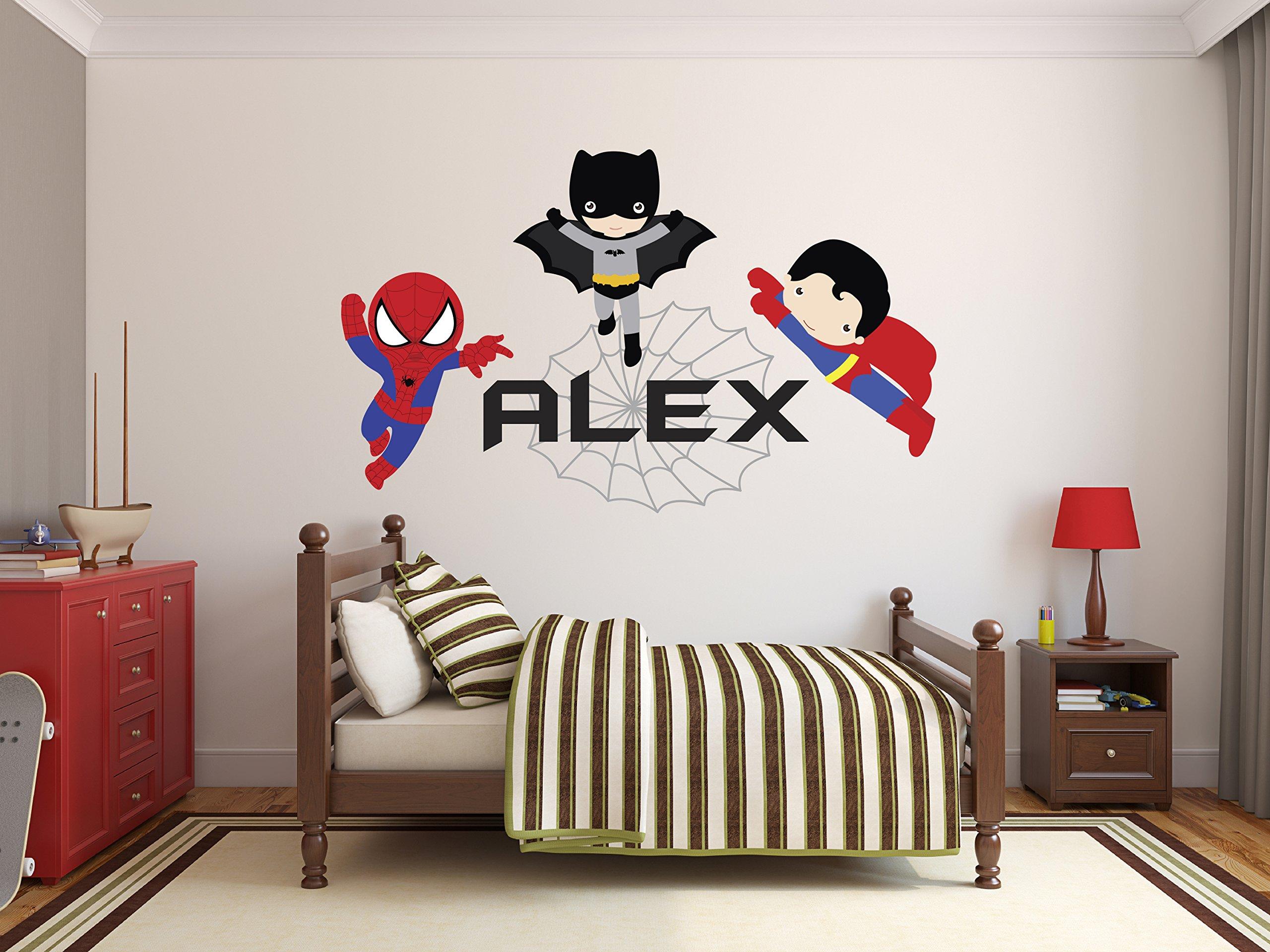 Custom Name Spiderman Batman Superman Wall Decal Baby Boy Kids Decor Personalized Superheroes Nursery Vinyl Art Sticker (48'' x 30'')