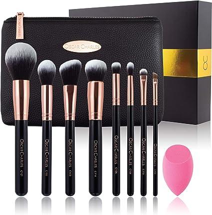 Oscar Charles - Juego de brochas de maquillaje profesional con esponja de belleza y estuche de cosméticos y hermosa caja de regalo [8 piezas] [Oro rosa]: Amazon.es: Belleza