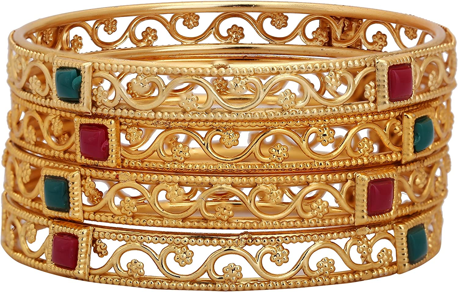 MUCH-MORE Exclusive Ethnic Collection Made Fashion Latkan Bangles for Women /& Girls Green, 2.6