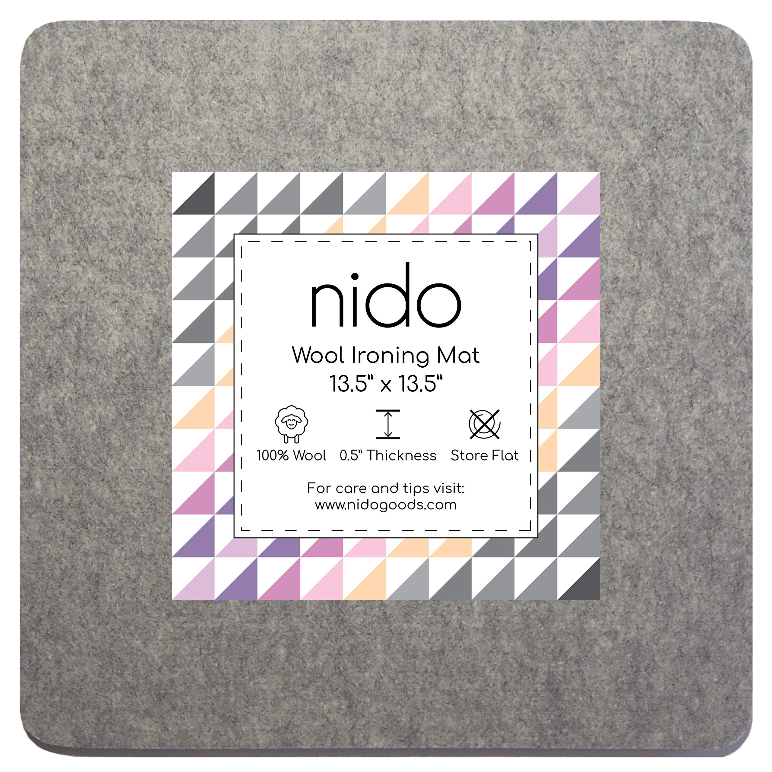 13.5 x 13.5 Inches Wool Ironing Mat - Authentic 100% New Zealand Wool Pressing Pad, Perfect for Quilting and More! by Nido Goods