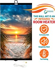 Invroheat - Decorative Wall Hanging Infrared Space Heater/Portable Heater 430W Perfect for Home or Office - Beach Sunset Desi