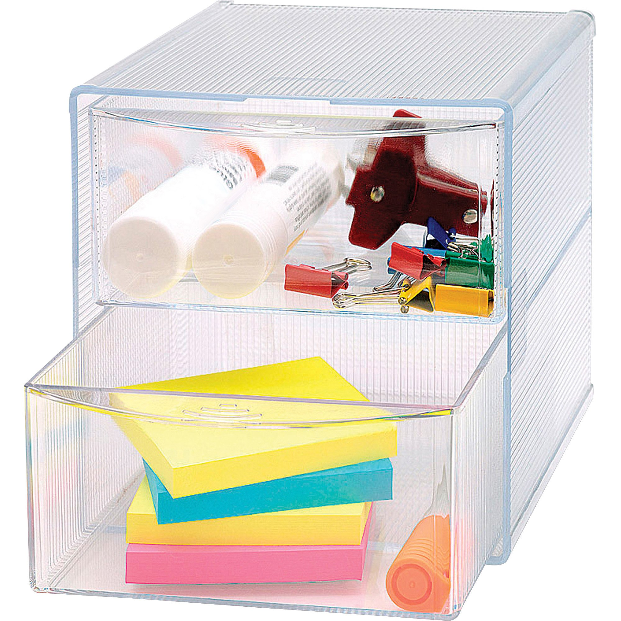 Sparco Storage Organizer, 2 Drawer, 6 x 6 x 6 Inches, Clear(SPR82978)
