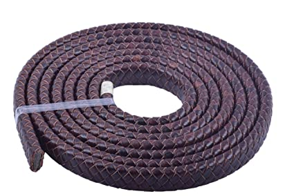 KONMAY 10 Yards 3.0mm Solid Round Real Leather Cord for Jewelry Making Crafting Beading Brown