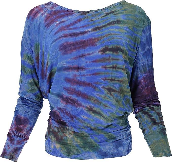 Guru-Shop Batik Hippie - Camiseta de manga larga para mujer, color verde, sintético, talla 38, suéter, manga larga y sudaderas alternativas