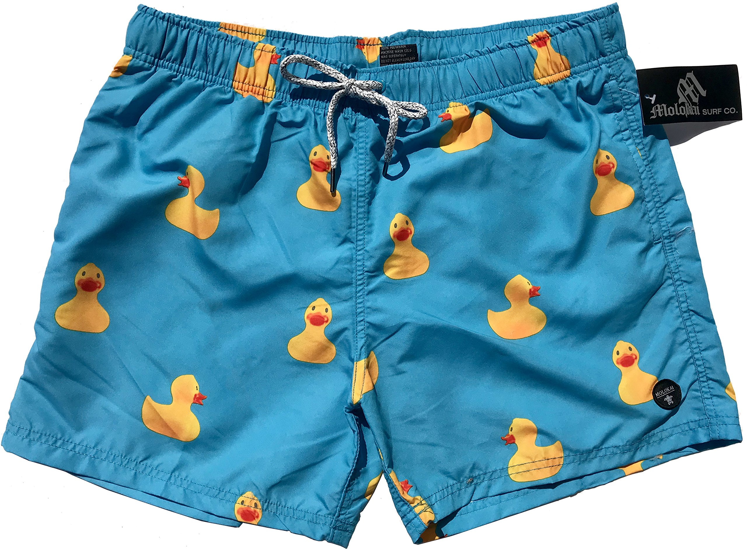 Official Molokai Swim Trunks and Shorts (Rubber Ducks, Large)