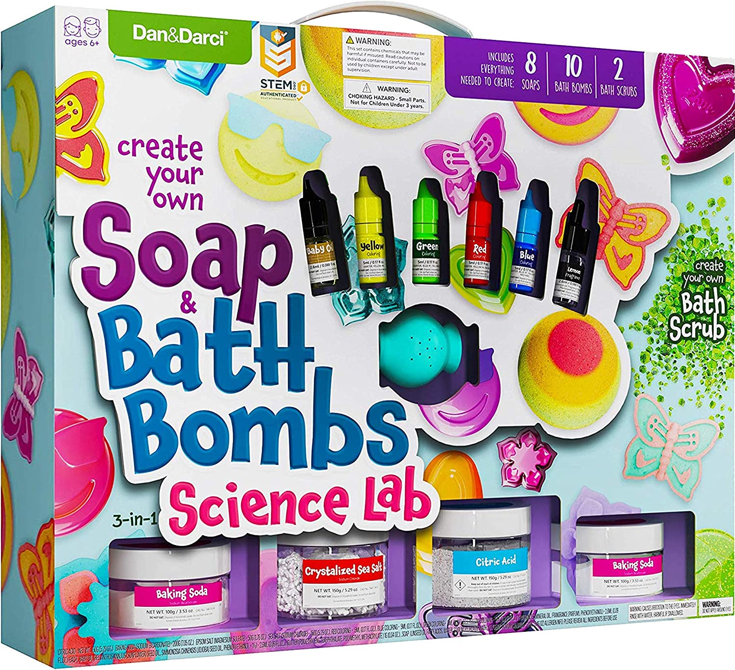 Soap & Bath Bomb Making Kit for Kids - 3-in-1 Spa Science Kits For Kids : Complete Soap Making Kit & Make Your Own Bath Bombs, Soap & Bath Scrubs : Kids Science Kit For Kids - Gift for Girls and Boys: Toys & Games