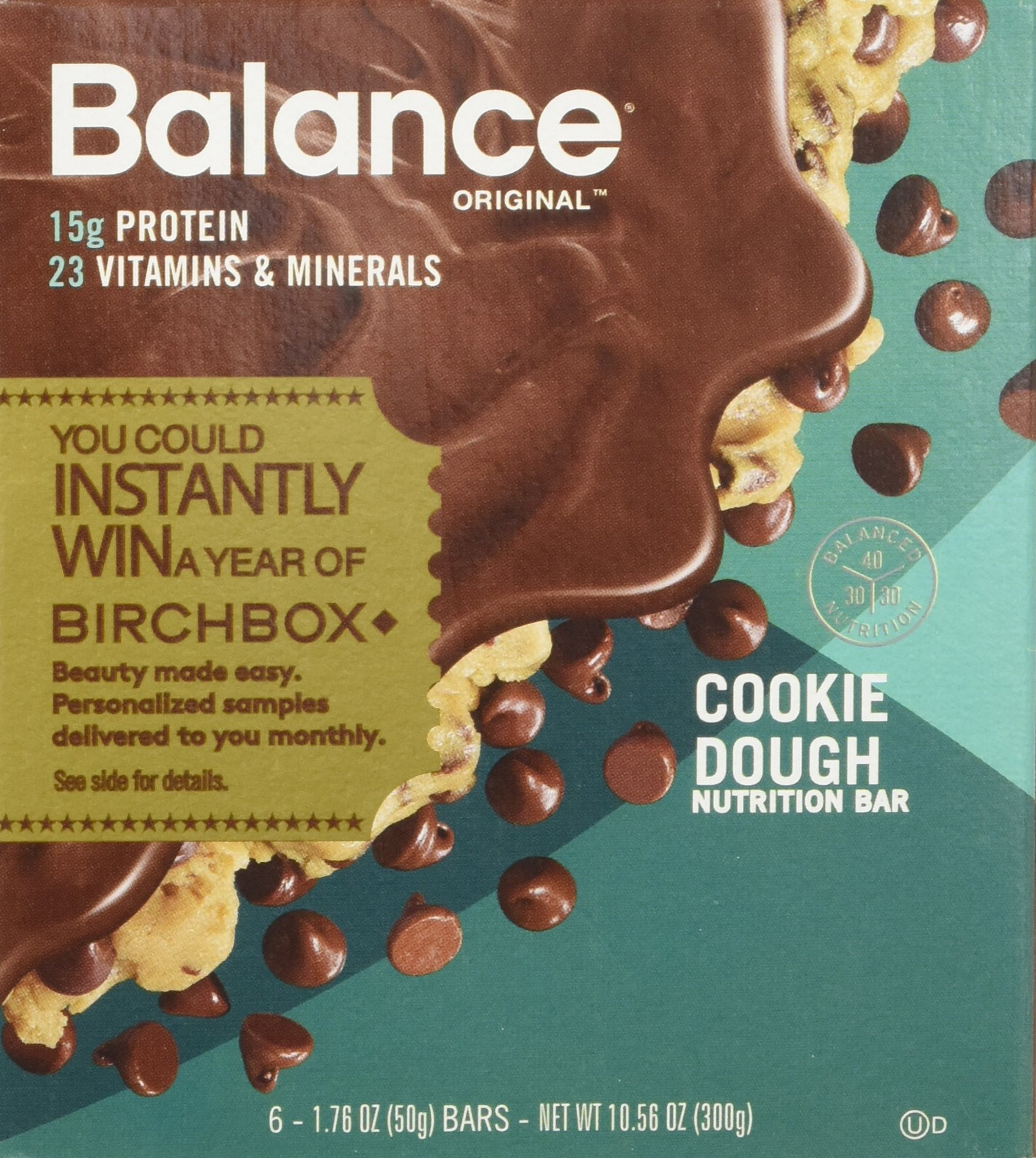Balance Bar Protein Bars, Healthy Snacks to Support Energy, Cookie Dough,  1.76 oz