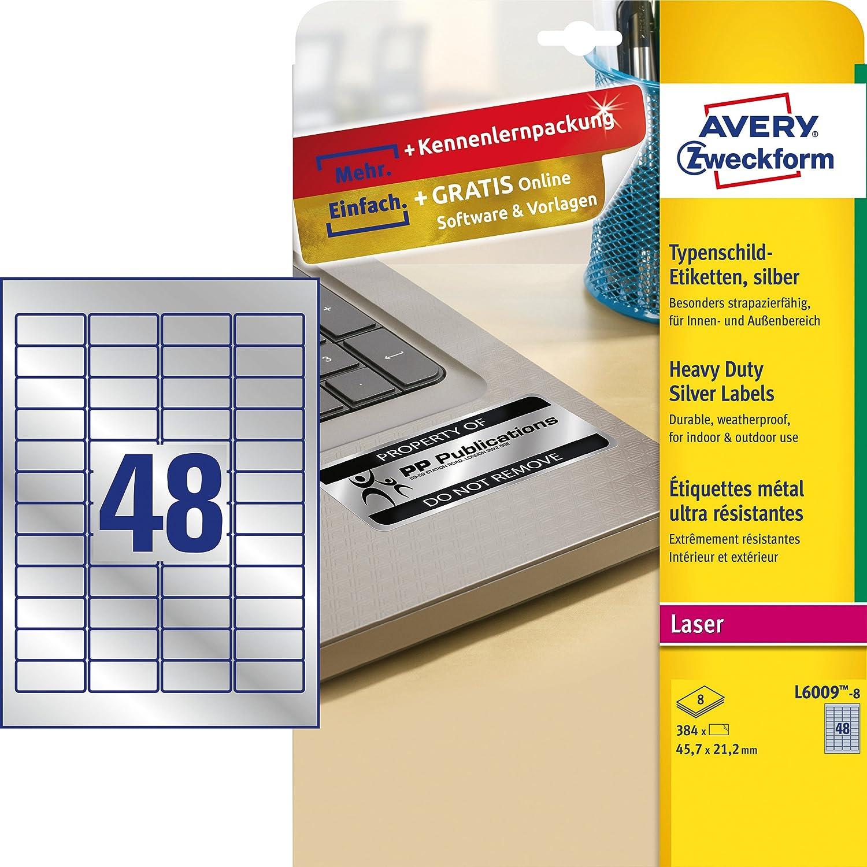 avery zweckform l6009 8 typenschildetiketten a4 384 etiketten