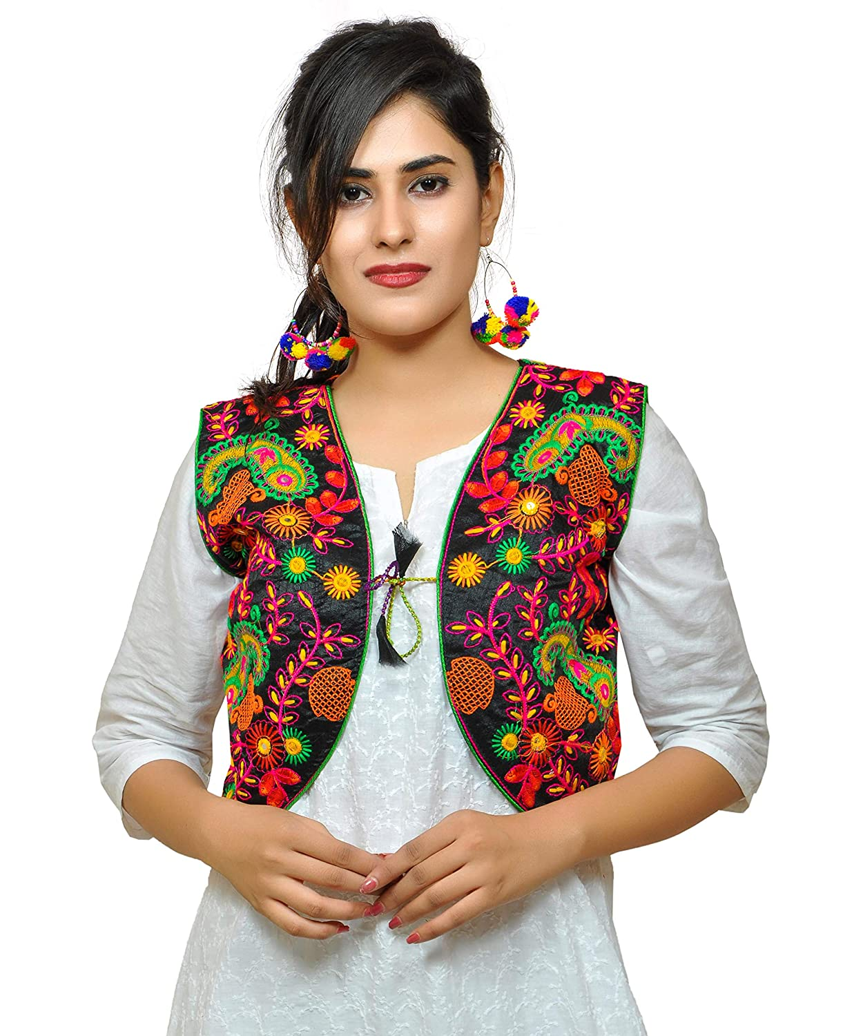1706a8db0aa Banjara Women's India Poly Cotton Embroidered Ethnic Kutch Work Shrug  (Black