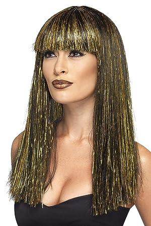 Smiffys Smiffys-44254 Peluca de Diosa egipcia, con espumillón Dorado, Color Negro,
