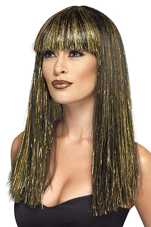 Smiffys Smiffys-44254 Peluca de Diosa egipcia, con espumillón Dorado Color Negro No es
