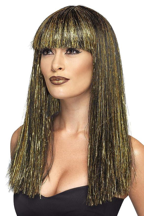 Smiffys Smiffys-44254 Peluca de Diosa egipcia, con espumillón Dorado Color Negro No es Applicable 44254: Amazon.es: Juguetes y juegos