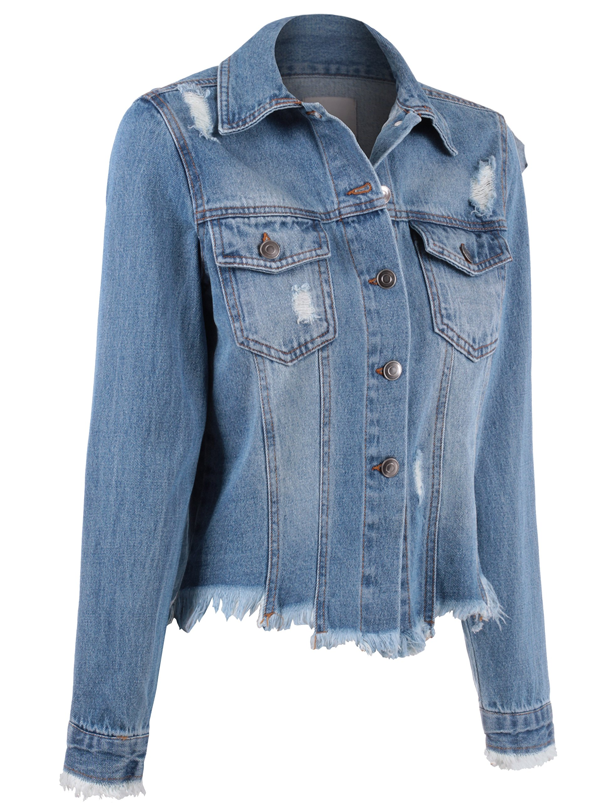 BEKTOME Womens Distressed Vintage Denim Jacket With Embroidery On Back-M-Blue