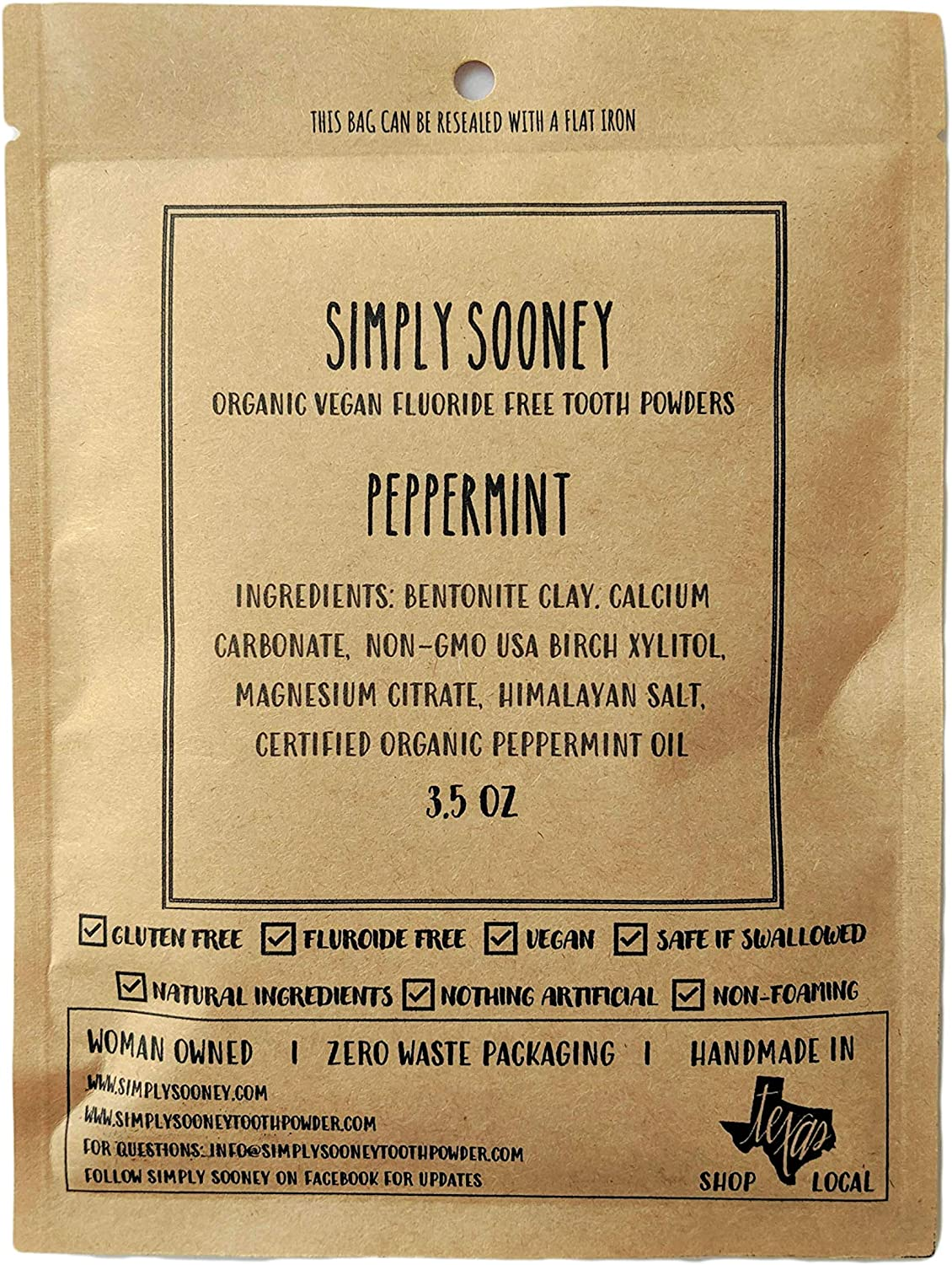 Simply Sooney Peppermint Tooth powder