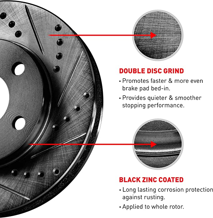 Fits: 2014 14 2015 15 Jeep Compass KT052781 Max Brakes Front Elite Brake Kit E-Coated Slotted Drilled Rotors + Ceramic Pads