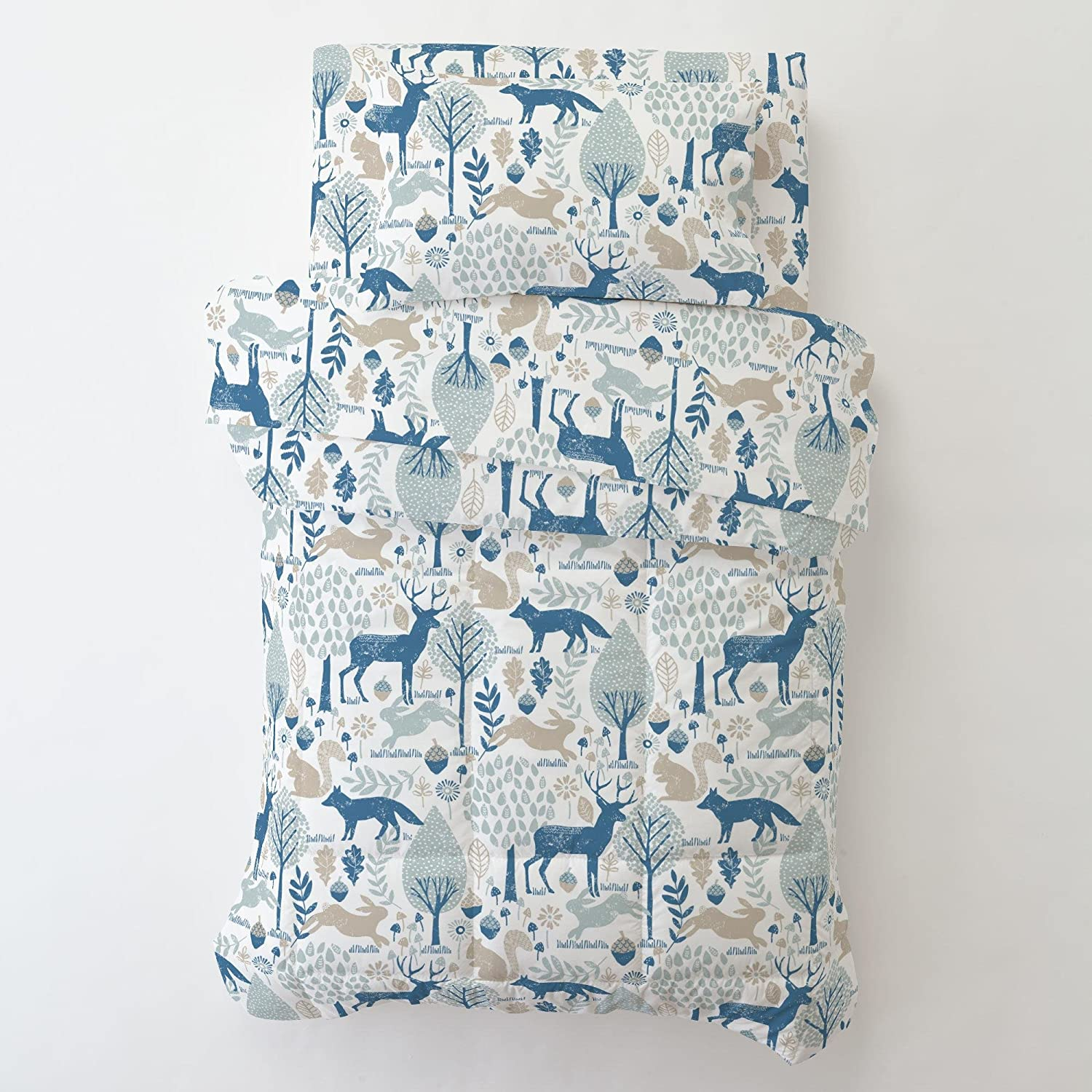 Carousel Designs Navy and Mint Woodland Animals Toddler Bed Comforter