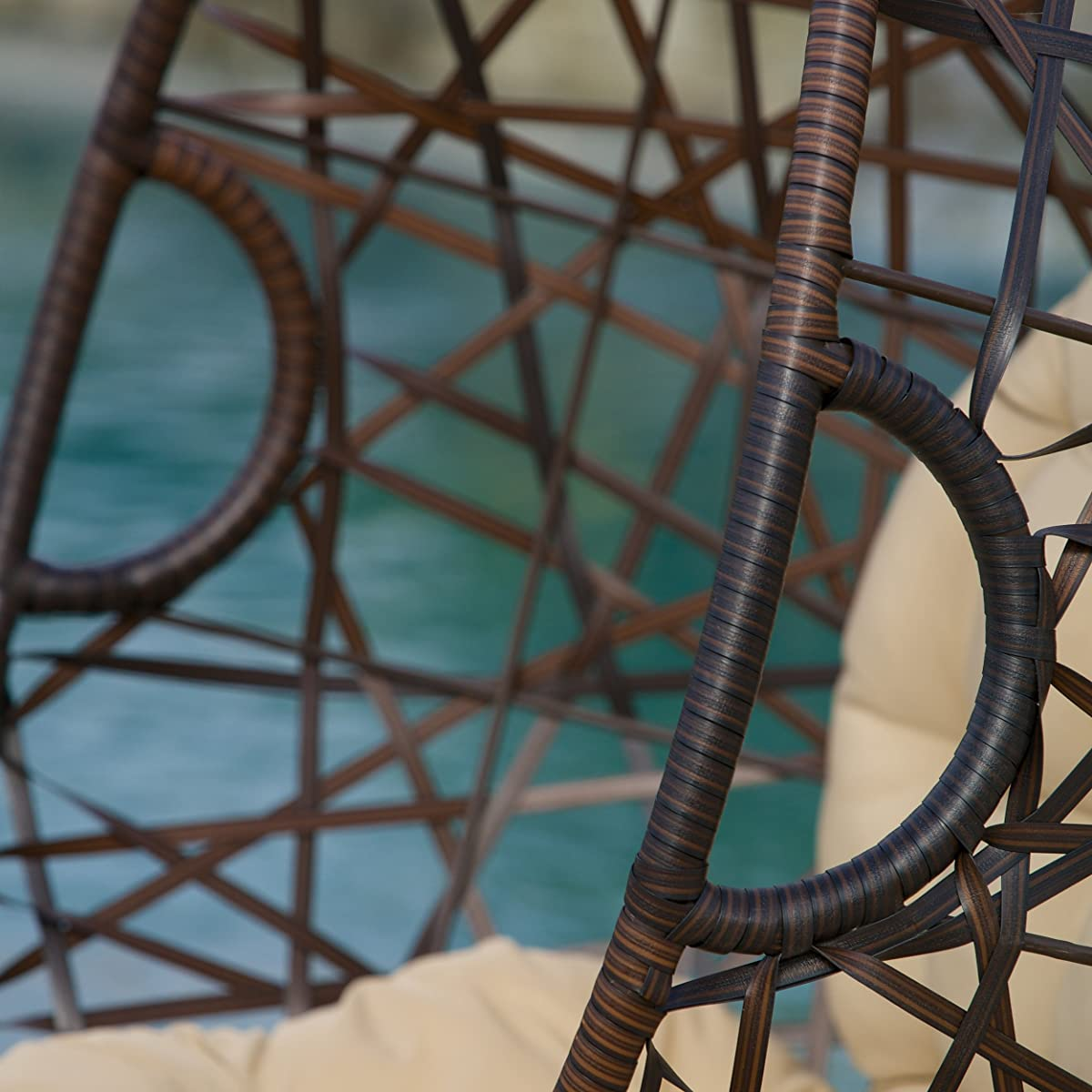 Christopher Knight Home 239197 Outdoor Brown Wicker Tear Drop Hanging Chair HOM