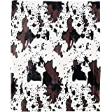Home Soft Things Cow Print Blanket Throws Animal Black White Brown Throw for Chair Bedroom Living Room Sofa Couch Bed Outdoor