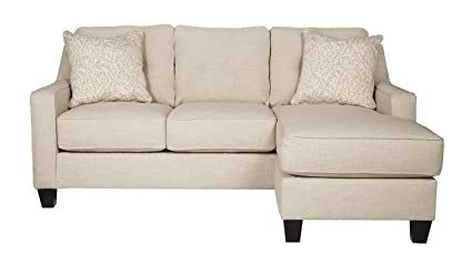 Benchcraft   Aldie Nuvella Contemporary Sofa Chaise Sleeper   Queen Size  Mattress Included   Sand