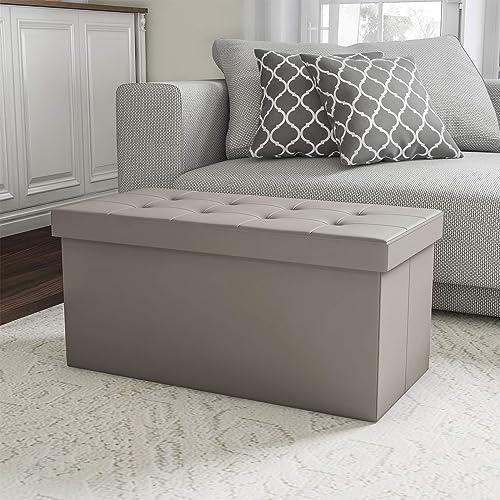 Lavish Home Gray Folding Storage Bench Ottoman 30 Faux Leather