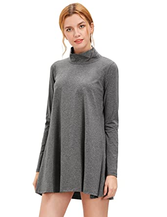 2271ae7aa0 SheIn Women's Casual Loose Turtleneck Long Sleeve A-Line T-Shirt Dress  Large Dark