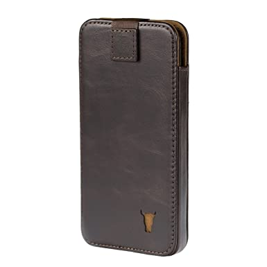 half off f4bbf dd495 TORRO Premium Leather Pouch Case compatible with Apple iPhone XS. Sleeve  Case in Genuine USA Dark Brown Leather for iPhone X/iPhone XS - Dark Brown